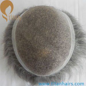 Custom Made Indian Remy Grey Human Hair Toupee for Old Men pictures & photos