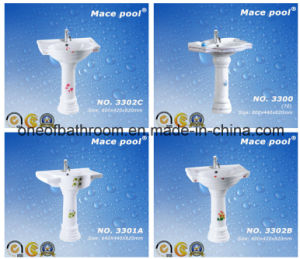 Good Quality Sanitary Ware Wash Basin with Pedestal Type pictures & photos
