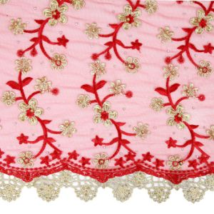 Wine Red Color Beaded African French Lace Fabric for Aso Ebi Wedding pictures & photos