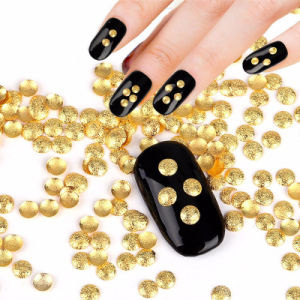 Gold Silver Alloy 3D Manicure Nail DIY Adhesives Accessory Charm Glitter Round Matte Studs Nail Art Decoration pictures & photos