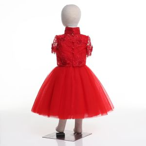 Chinese Red Flower Girl Dress for Wedding and Ceremonial pictures & photos
