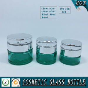 Empty Green Colored Glass Cosmetic Bottle and Cosmetic Glass Cream Jar pictures & photos