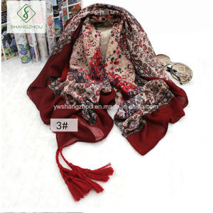 Chinese Style Long Sunscreen Beach Towel Retro Floral Cotton Shawl pictures & photos