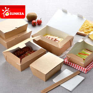 Self Lock 3 Layer Takeaway Kraft Paper Food Box pictures & photos