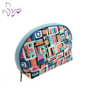 Printing Cotton Cosmetic Bag for Lady with Blue PU pictures & photos