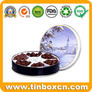 Round Chocolate Tin Can with Food Grade, Metal Candy Tins pictures & photos