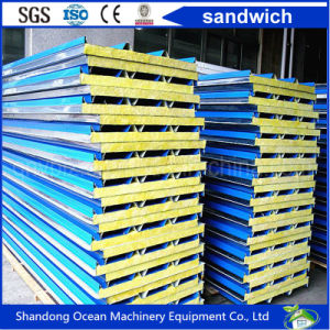 Rock Wool Sandwich Roof Panel Made of PPGI Steel Sheet for Prefab Home pictures & photos