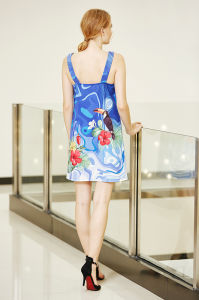 Sleeveless Ponte Shift Dress with Digital Placement Print Backless Strappy Dress pictures & photos