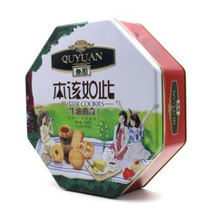 Octagon Tin Box for Cookies pictures & photos