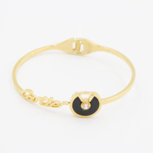 Hinged IP Gold Plated Bangles with Gemstone for Gift Jewelry pictures & photos