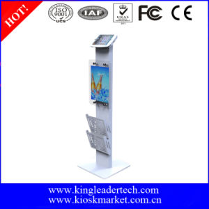 Freestanding iPad Mini Stand Secure iPad Kiosk Lockable, Logo Panel and Leaflet Rack