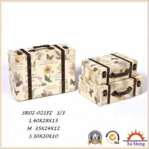Home Furniture Wooden Antique Suitcase Storage Box Gift Box with White Fabric pictures & photos