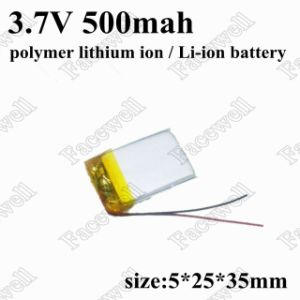 3.7V 500mAh Lithium Polymer Lithium Ion Li-ion Battery for Smart Watch GPS MP3 MP4 Cell Phone Speaker Bluetooth Audio pictures & photos