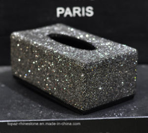 Hand Made Diamante Diamond Rhinestone Crystal Tissue Paper Box Holder (TB-011 topaz) pictures & photos
