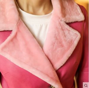 Pink Fashion Lady′s Shearling and Lamb Leather Coat Long Style pictures & photos
