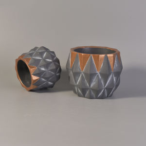 Faceted Concrete Candle Holder with Plating  pictures & photos