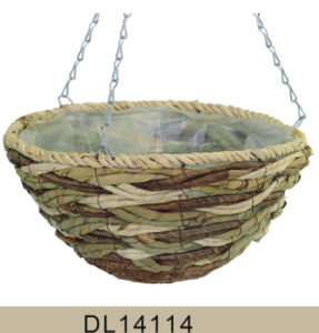 Cheap Cone Shaped Maize Rope Hanging Flower Basket pictures & photos