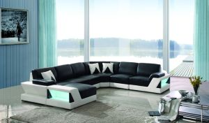 with LED Light U Shape Corner Design Leather Living Room Sofa pictures & photos
