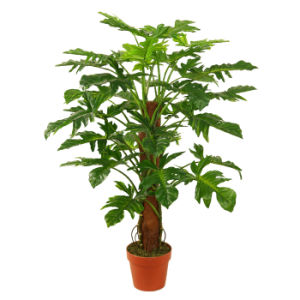 "Polyester Artificial Plants of 100cm Philodendron Pole with 7""Plastic Pot, 32 Lvs"