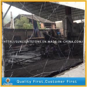 Cheap Black Stone Nero Marquina Black Marble for Flooring Tiles pictures & photos