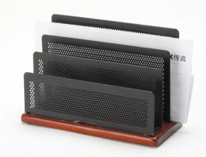 Wooden Desk Accessories/ Metal Mesh Stationery Letter Shelf/ Office Desk Accessories pictures & photos