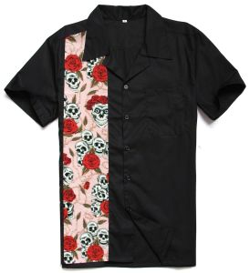 2017 Newest Big and Tall Men′s Rockabilly Clothing Floral Skulls Printed Design Dress Shirts pictures & photos