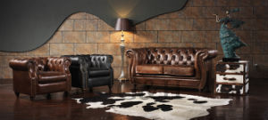 The Vintage Luxury Leather Reception Sofa pictures & photos