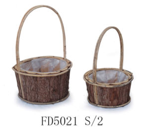 Natural Oval Wooden Flower Basket with Rattan Handle for Home and Garden From Factory pictures & photos