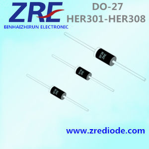 3A Her301 Thru Her308 High Efficiency Rectifier Diode Do-27 Package pictures & photos