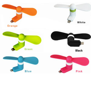 New Portable Mini Mobile Phone Fan Micro USB Port and 8pin Electric Cooling Fan for iPhone Samsung Cell Phone 2in1 Mini USB Fan pictures & photos