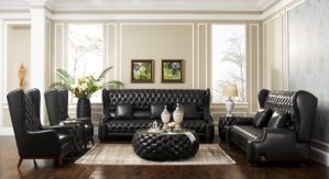Classic Chesterfield Leather Sofa Set pictures & photos