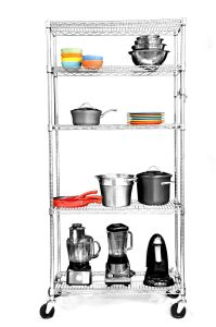 Chrome Metal Restaurant Kitchen Wire Storage Shelving Rack with Wheels pictures & photos