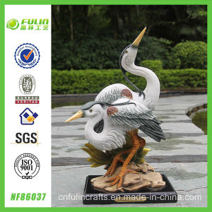 Vivid Polyresin Double Egrets Sculpture for Home and Garden (NF86037)