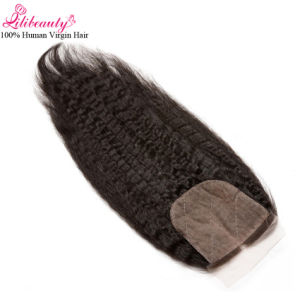Wholesale 8A Remy Human Hair Kinky Straight 4X4 Silk Base Closure pictures & photos