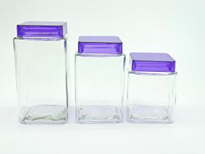 4sets Glass Jar with Purple Acrylic Lid Glass Bottle pictures & photos