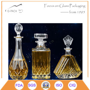 Hot Sale Glass Whisky Bottle in Water Drop Design pictures & photos