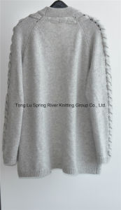30%Cashmere 70%Wool Ladies Opean Patterned Cardigan pictures & photos