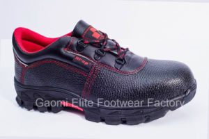 Low Cut Black Embossed Buffalo Leather Safety Shoe Kingpec-R1