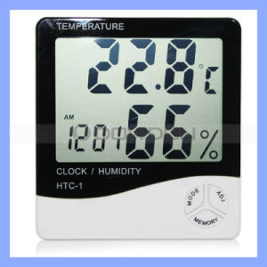 Digital LCD Display Thermometer, Hygrometer with Clock Function, Digital Hygrometer (HY-010) pictures & photos