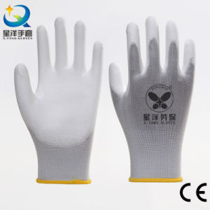 White Polyester Liner with White PU Coated Safety Work Gloves (PU001) pictures & photos