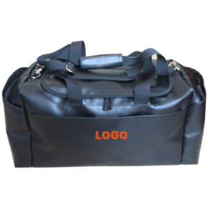 Black Vinyl PU PVC Leather Gym Duffle Travel Bag (LTB150327) pictures & photos