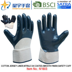 Cotton Jersey Shell Nitrile Coated Safety Work Gloves (N1603) pictures & photos