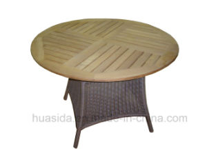Round Teak Table Top Outdoor Rattan Dining Table pictures & photos