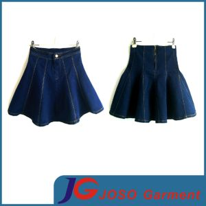 Girls Fashion Pleated Denim Mini Skirt (JC2083) pictures & photos