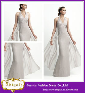 Latest Designs Floor Length A-Line Halter High Quality Gray Taffeta Elegant Unique Design Evening Dresses 2014