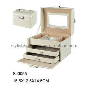 Elegant White PVC Leather Jewelry Box (SJ0055)