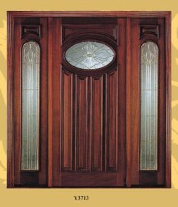 American Standard Mahogany Entrance Glass Door for Villa