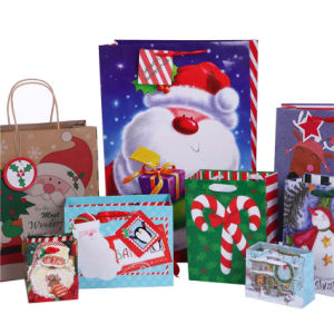 Gift Christmas Bag Santa Clause Gift Paper Bags with Full Glitter pictures & photos