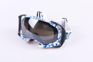 TPU Jacquard Strip Snowboard Glasses, Ski Fashion Goggles (XA051)