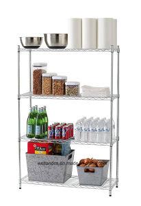 Supreme DIY 4 Layers Home Kitchen Storage Chrome Steel Wire Shelf Rack pictures & photos